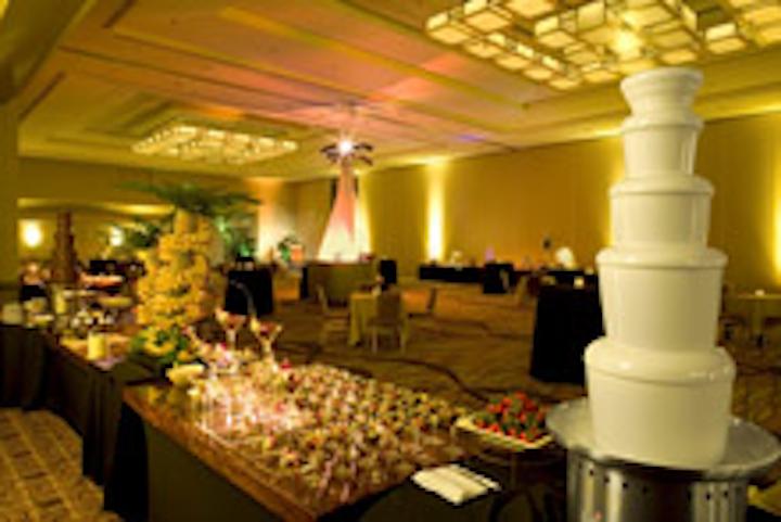 The Hilton 's refurbished ballroom space