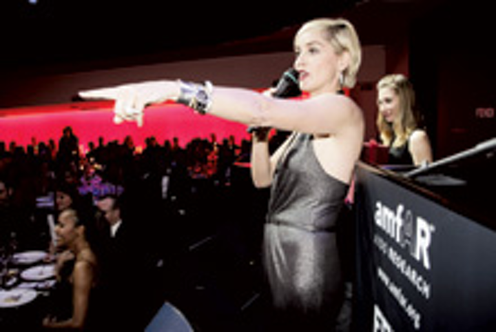 Sharon Stone served as auctioneer for Amfar's Cinema Against AIDS fund-raiser in Rome.