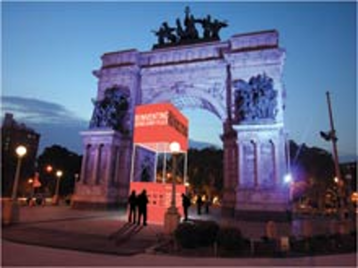 Brooklyn 's Grand Army Plaza is the site of a monthlong exhibition hosted by the Design Trust for Public Space.
