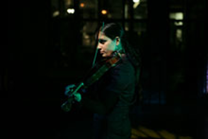 A violinist performed for guests