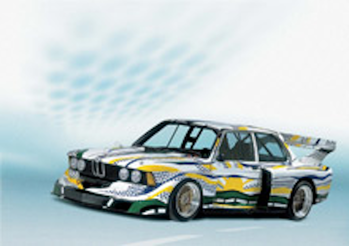 This Roy Lichtenstein-painted BMW 320 i Gruppe is on display at Grand Central.