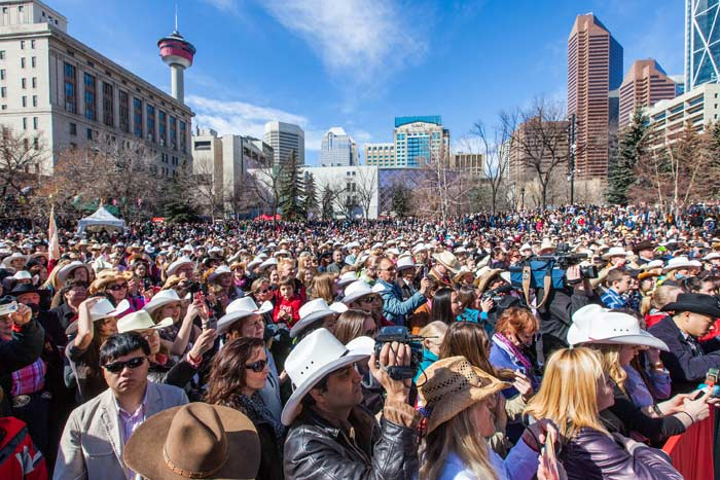 On Thursday, thousands of Calgarians donned their cowboy hats for the Calgary Stampede's 100-day kickoff event.