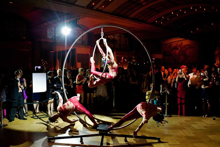 A2D2 aerialists performed during the circus-inspired fund-raiser. Adding rigging to the historic museum was not an option, so A2D2 brought their grounded Cirque-u-l'air rig.