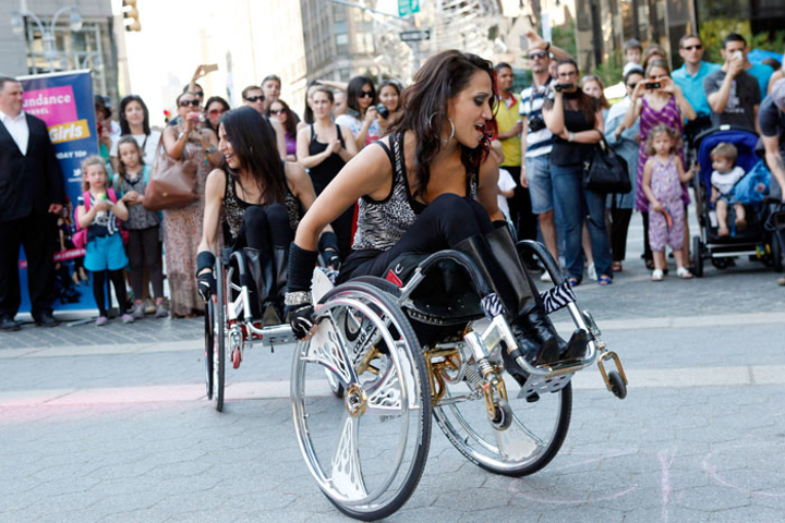 On Thursday, May 31, two of the four stars from the Sundance Channel's new series Push Girls performed at three different locations in New York. The pop-up promotions were accompanied by a DJ booth and signage as well as branding displays in the wheelchairs of the performers.