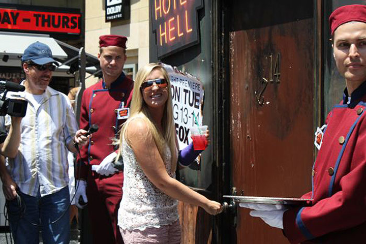 Guests used branded keys to attempt to unlock the door to the 'Hotel Hell' at Hollywood & Highland and scoop up prizes from Fox as part of a promotion for the show by the same name.