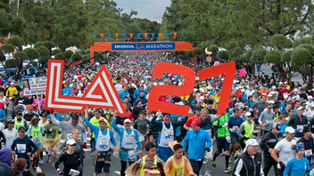 #1 Sports Event City of Los Angeles Marathon, also known as the Honda L.A. Marathon, recently underwent a significant revamp that changed the course to a new, tourist-friendly route that begins at Dodger Stadium and continues west through the city to Santa Monica and Ocean Boulevard. Next: March 17, 2013
