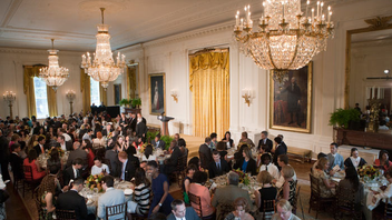 #3 Art & Entertainment Event First Lady Michelle Obama hosted this year's event in the East Room of the White House, honoring innovators, including lifetime achievement winner TED Conference creator Richard Saul Wurman. Next: Summer 2013