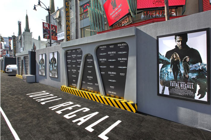 Total Recall premiered at Grauman's Chinese Theatre with a logo-inset carpet and props galore from the film.