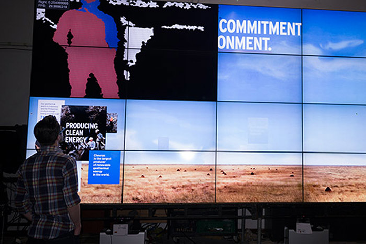 At the World Petroleum Conference, Control Group used Microsoft's Kinect motion-sensing cameras with multiple zones of interaction. As an attendee got closer to the 12- by 80-foot display, that movement activated different pieces of content on the screens.
