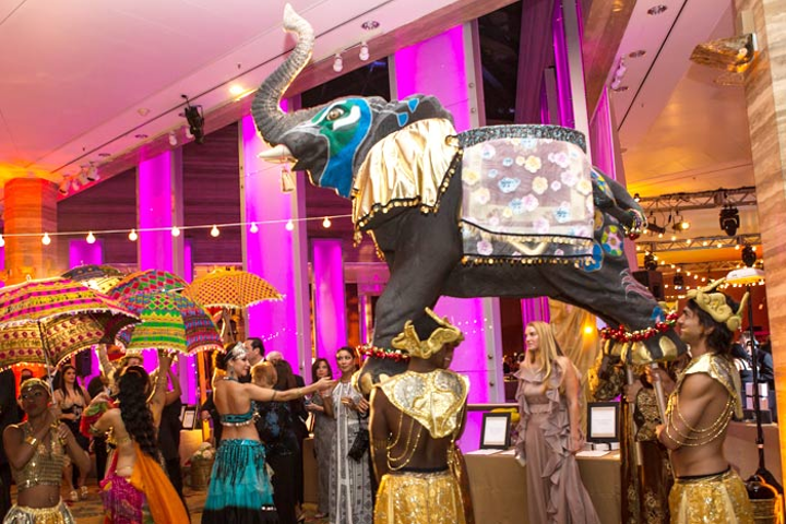 In keeping with the event's Bollywood theme, an elephant made by Primetime Amusements led guests in a parade to the dining space at InterContinental Miami.