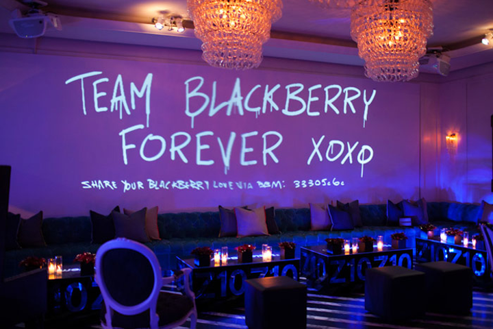 Guests shared their love for BlackBerry's new device via messages projected onto a giant screen.