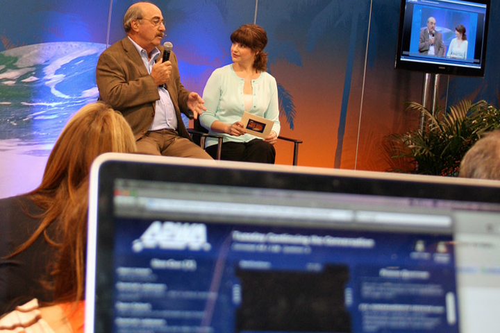 One way to keep online attendees engaged in your event's content is to use an online host or virtual M.C. Emilie Barta hosts online events for organizations such as the American Public Works Association.