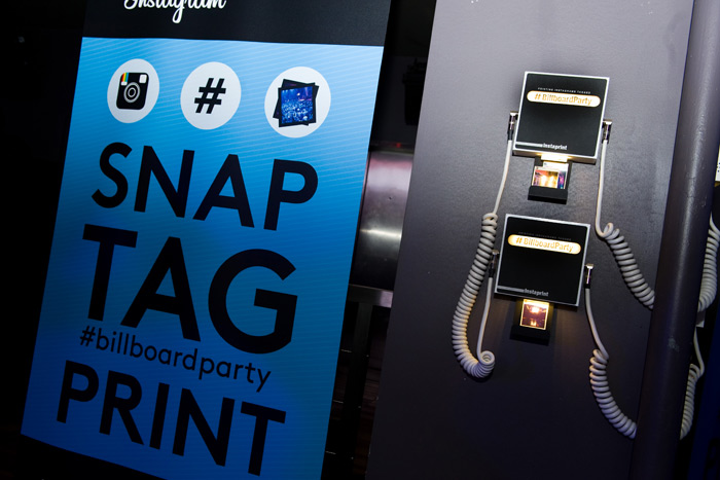 Photo booths, like the one used at the February Billboard relaunch party in New York, that encourage guests to share moments from an event to social networks can help boost R.O.I.