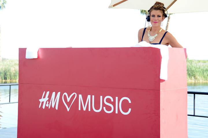 DJ Michelle Pesce spun poolside at H&M's Coachella party.