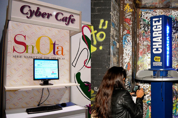 Rather than setting up cyber cafés—specific areas with computers, Wi-Fi, and electric outlets—offer your attendees free Wi-Fi and charging stations throughout your event.
