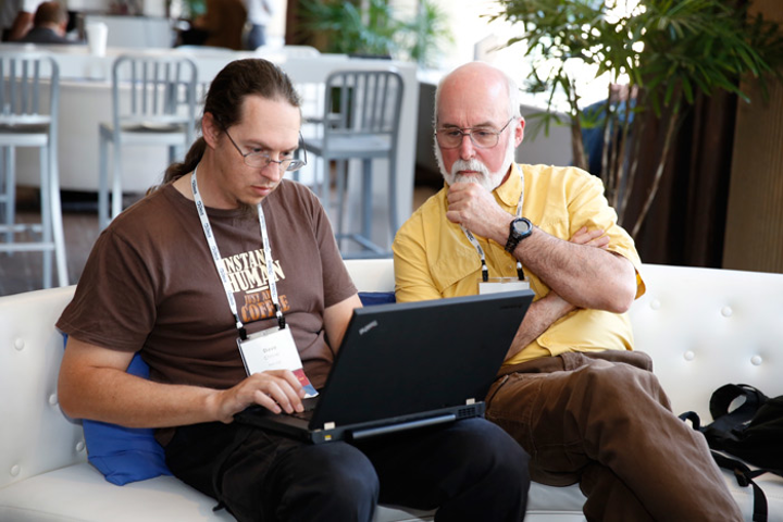 The Linux Foundation creates comfortable spaces where conference attendees can meet and collaborate.