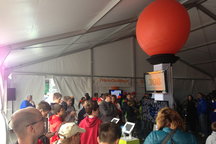 Crowds gathered inside AT&T's tent at the N.C.A.A. Lacrosse Championships in Philadelphia in May to watch the company's 'Twitter balloon' gradually inflate as people tweeted using the hashtag #ATTLAX.
