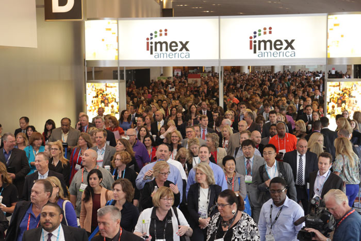 Attendees streamed into IMEX America at the Sands Expo in Las Vegas.