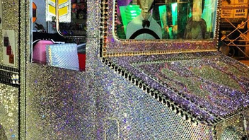 13. The Swarovski crystal-covered Heartschallenger ice cream truck was parked outside the entrance to Paper magazine's second annual Super Duper Market in New York. The glittering visual for the flea-market-style affair in August offered passersby frozen treats. Click to Like, Comment, or Follow Us on Instagram