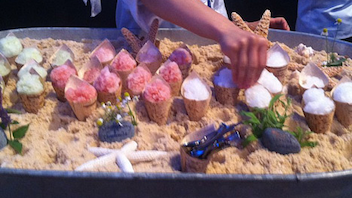 19. At L.A. Center Studios for the Lexus grand tasting during Los Angeles Food & Wine festival, Big Sur's Post Ranch Inn served mini shaved ice cones in a metal bucket set up like a beach scene, with sugar for sand. Click to Like, Comment, or Follow Us on Instagram