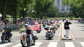#5 Parade, Walk & Festival Motorcycle riders from around the nation gather for the annual First Amendment Demonstration Run in support of prisoners of war and soldiers missing in action as well as all veterans of American wars. Riders travel en masse from the Pentagon parking lots to West Potomac Park and then gather on foot in the National Mall. Next: May 25, 2014