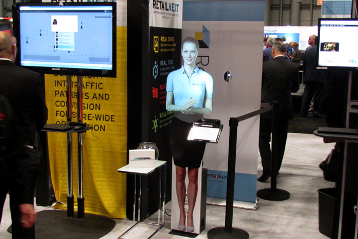 RetailNext customized the look of its virtual presenter, dressing it in the same shirt as the employees staffing the booth. As attendees stepped within a few feet of the system, built-in sensors triggered a welcome message.