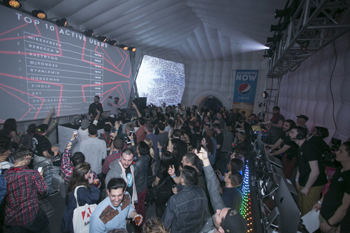 At Pepsi's party at South by Southwest, a leaderboard showed which guests were dancing the most based on data transmitted by their Lightwave wristbands.
