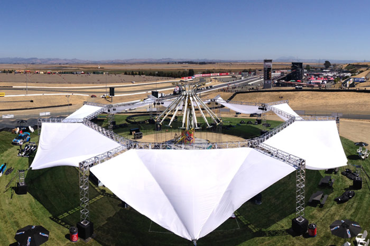 A 180-foot shade structure at the GoPro Grand Prix of Sonoma survived the Napa Valley's 6.0 earthquake with just a couple of rattled bolts, easily fixed in time for the event to proceed as planned.