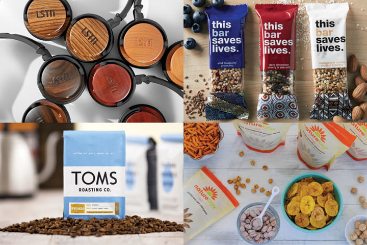 (Pictured clockwise, from top left) Gifts of LSTN headphones provide hearing aid to people in need, This Bar Saves Lives sends food to malnourished children, NatureBox proceeds benefit Feeding America, and Toms has a buy-one-give-one coffee program.