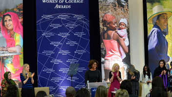 #14 Political & Press Event The U.S. State Department's honor recognizes women who advocate for human rights, women's equality, and social progress. First Lady Michelle Obama was on hand to deliver the awards this year. Next: March 2015