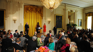 #3 Art & Entertainment Event First Lady Michelle Obama hosted the Cooper Hewitt, Smithsonian Design Museum's award winners in the East Room of the White House for the 15th anniversary of the awards. She wore a dress by fashion designer Narciso Rodriguez, who was among the honorees. Next: Fall 2015