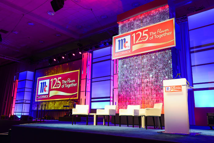 McCormick has saved money by investing in an adaptable stage set that it uses for a variety of special events and panel presentations, including its 125th anniversary event in Baltimore last December. Hargrove gives the set a fresh look for each event by changing the graphics, lighting, colors, and layout.