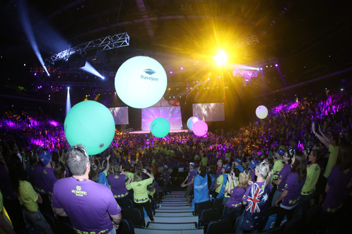 Helium-filled Zygote balls, which were printed with sponsors' names, changed color when touched at a retail conference.
