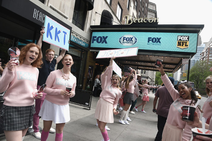 A promotion for Scream Queens saw girls in pink sweatshirts hand out packs of bubblegum to attendees of Fox's upfront presentation.