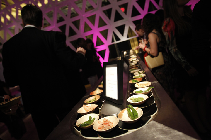 Occasions Caterers took inspiration from Japanese sushi restaurants and set up a conveyor belt of small plates.