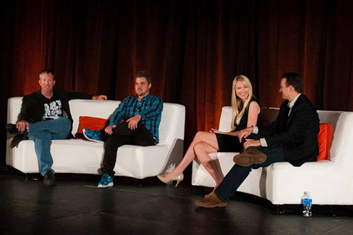 Participating in a discussion about marketing to millennials were (pictured, left to right) moderator Justice Mitchell, C.E.O. of Big Block Studios; P.J. Leimgruber, co-founder and C.O.O. of NeoReach; Melissa Albers, director of social media for Full Sail University; and Jonathan Faulkner, director of integrated media for iHeart Media.