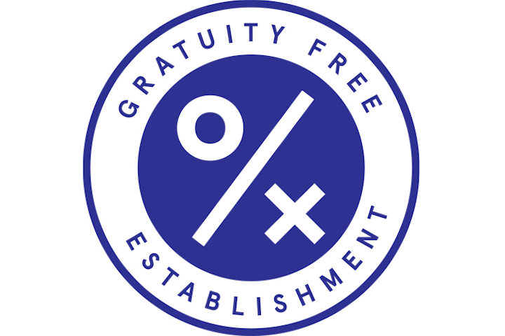 A new logo designed by restaurateur Andrew Tarlow—whose restaurants include Diner and Marlow & Sons—identifies gratuity-free restaurants. Using it on menus and other collateral is one way the industry is hoping to educate consumers on the movement.
