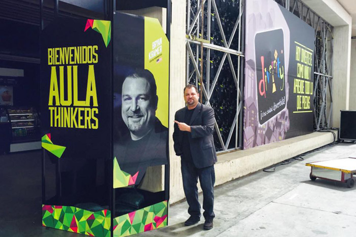 Bryan Kramer cites his experience at EXMA in Colombia as one of the most memorable speaking engagements because of the personal touches offered by the organizers, including a jumbo sign with his face on it outside the venue.