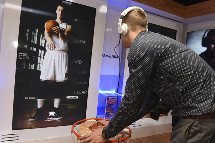 N.B.A. sponsor American Express gave fans a chance to experience its digital video Pivot activity at the N.B.A. All-Star Game in February 2015. Displayed on a 103-inch screen, the experience immersed fans in the movements of some of the league's star players.