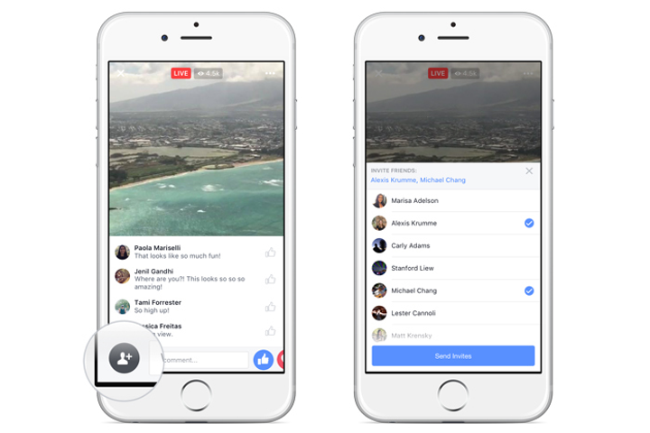 Facebook users can now invite others to watch a live stream.