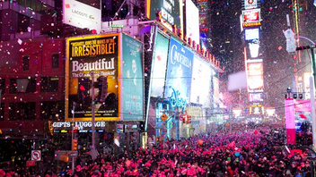 New York #2 Festival, Parade & Holiday Event Watching the crystal ball drop in New York's Times Square at the stroke of midnight has become a New Year's Eve tradition for millions of people around the world. An estimated 1 million people brave the chilly winter weather to experience in person what is probably the world's most famous New Year's Eve party. In 2015, about 13 million U.S. viewers watched the event on ABC, which consistently has the highest-rated New Year's Eve U.S. telecast, hosted by Ryan Seacrest. Artists who performed in Times Square for the ABC telecast included Carrie Underwood, Luke Bryan, Demi Lovato, and Wiz Khalifa featuring Charlie Puth. An estimated 6,000 New York police officers serve on duty that night, while about 2,000 pounds of confetti drop on revelers during the celebration. Next: December 31, 2016