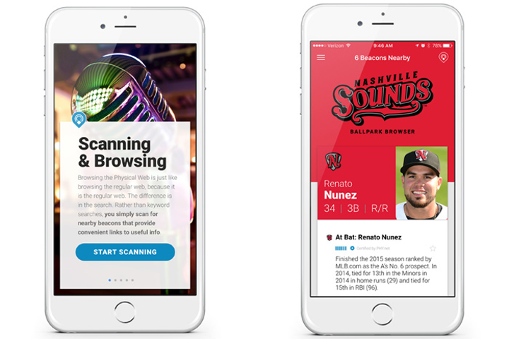 Any smartphone can detect beacons transmitting Physical Web content. At a Nashville Sounds baseball game, BKON deployed beacons that provided information about players as they came up to bat.