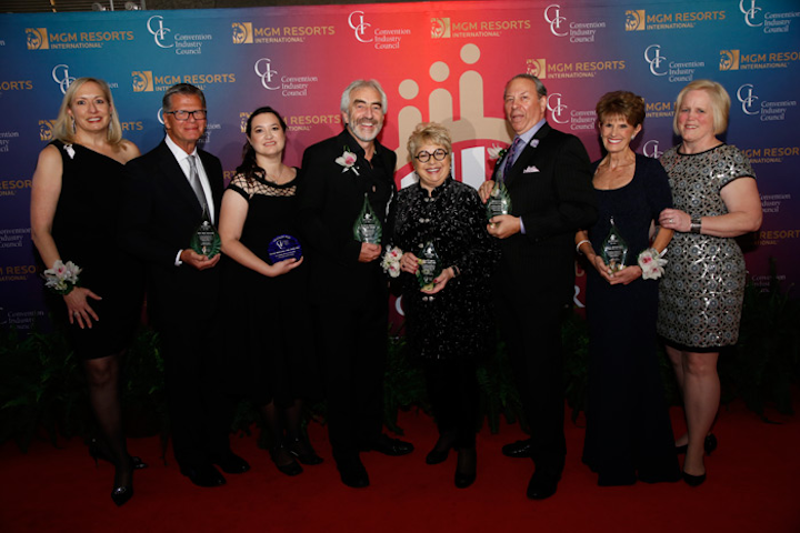 Honorees and hosts at the Convention Industry Council's Hall of Leaders & Pacesetter Awards, (pictured, from left to right): Karen Kotowski, president and C.E.O. of the Convention Industry Council; John Patronski; Mariela McIlwraith; Patrick Delaney; Carol Krugman; Richard Aaron; Colleen Rickenbacher; and Bonnie Fedchock, executive director of the National Association for Catering & Events.
