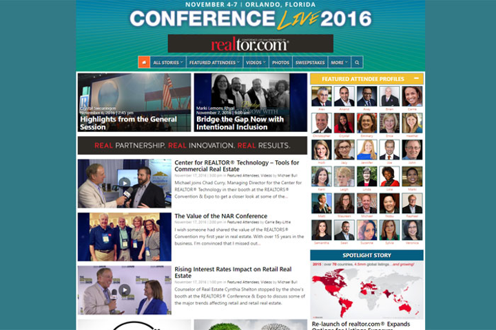 The National Association of Realtors Conference Live website include articles, photos, and videos submitted by the 30 featured attendees as well as by association staff.