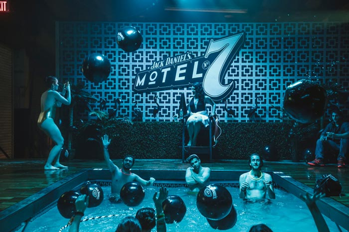 Jack Daniel's Motel No. 7 Submitted by Mirrorball For this experiential event series, Mirrorball designed a replica of a motel with an above-ground pool and over 20 room setups, where actors performed an ever-changing tableau of live theater moments. The space also included a main stage made entirely of Jack Daniel's whiskey barrels. The event, which was geared towards millennials and brand loyalists, took place in New York in November 2015.