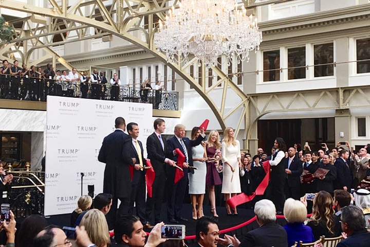 Event planners predict that President-elect Trump—shown here at the opening of Trump International Hotel, Washington, D.C., located down the street from the White House—will bring a new breed of event to Washington.