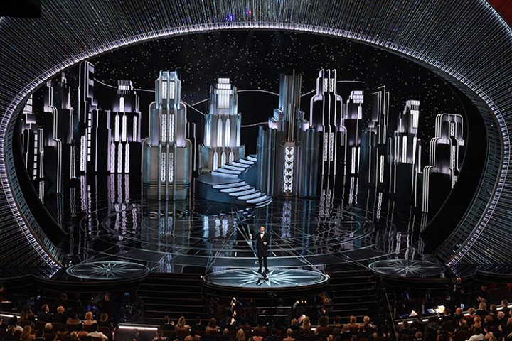 Producers cited the 3-D city-theme stage sets as a highlight of the 89th Oscars.