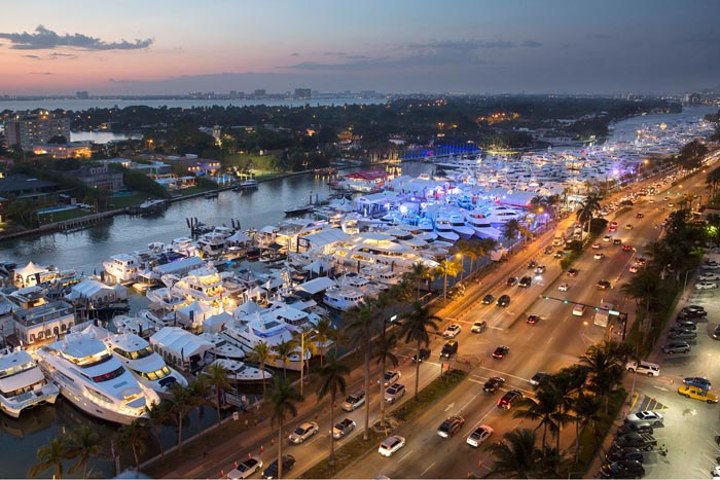 #13 Trade Show, Expo & Convention This year's show rolled out a new layout along the Indian Creek waterfront. The in-water exhibition covers 1.2 million square feet of space and stretches from 41st to 54th streets in Miami Beach. Next: February 15-19, 2018
