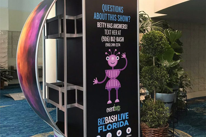 Signs around BizBash Live: Florida provided instructions on how to use the chatbot, dubbed 'Betty.' The bot received more than 1,600 questions regarding the one-day event.