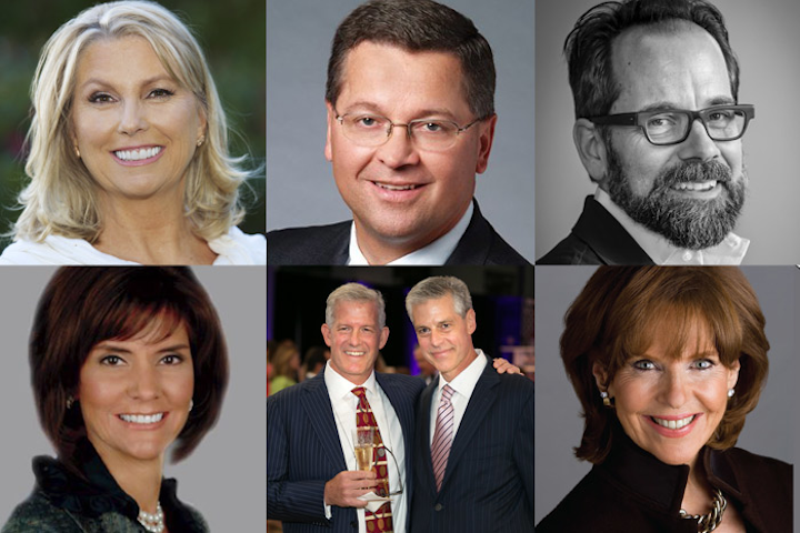 (Pictured, top row from left): Julie Hanson, Michael Stengel, Philip Dufour. (Bottom row from left) Capricia Penavic Marshall, Mark and Eric Michael, Susan Ann Davis